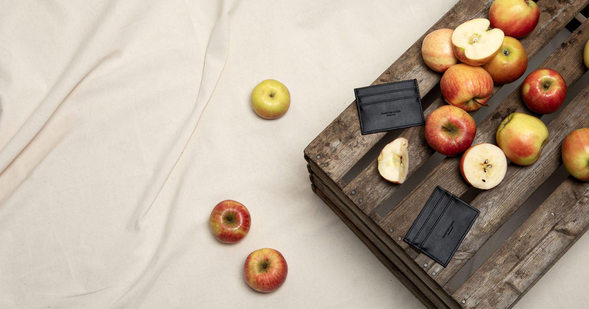 Frukt Plånkan -korttikotelo valmistettu omenoista, valokuva ja omenoita